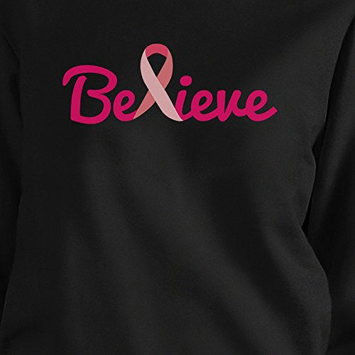 365 Awareness Sweat Longues Taille Breast Unique Believe Femme shirt Manches Printing Cancer frSwHqfP