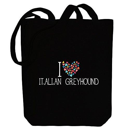Idakoos I love Italian Greyhound colorful hearts - Hunde - Bereich für Taschen 7IT4Nc