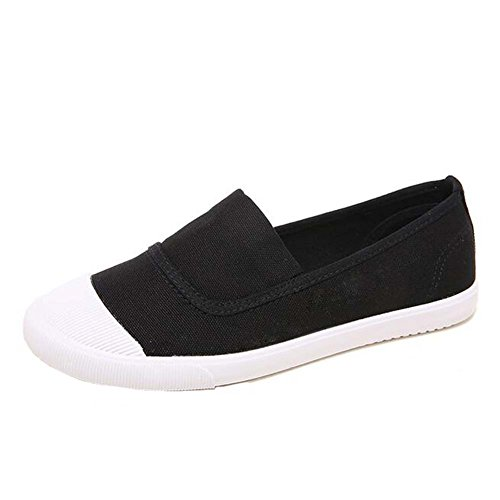 Trainer Schuhe Gummi Toe Casual Mädchen Schwarz Travel ANDAY Canvas Flats Loafers w60x6z