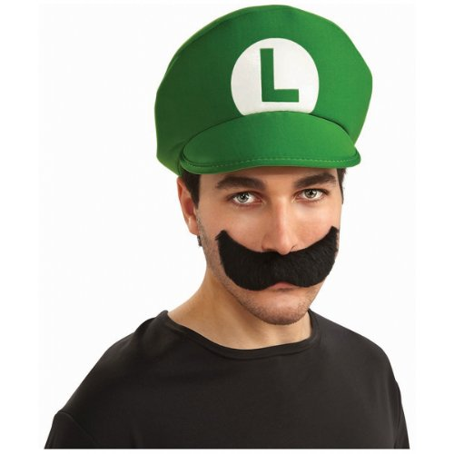 Family Costumes Brothers Mario (Super Mario Brothers Luigi Hat And Mustache Kit, Standard Color, One)
