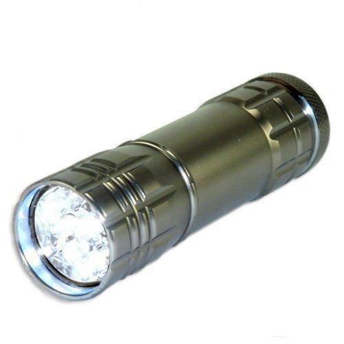 Neiko Super-Bright 9 LED Heavy Duty Compact Aluminum Flashlight - Gunmetal Silver