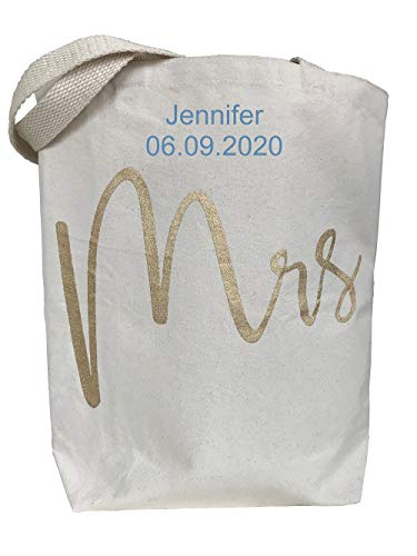 PERSONALIZED, Embroidered Mud Pie 4485034 Wedding Canvas Tote Shoulder Bag, Mrs
