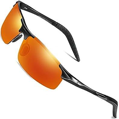 Sports Polarized Sunglasses for Men - wearPro Driving Sunglasses Al-Mg Metal Frame WP1005 (orange/black,2.16)