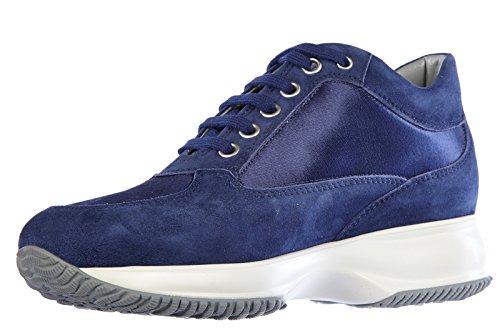Hogan Kvinna Skor Mocka Utbildare Sneakers Interaktiva Lurex H Spigata Blu