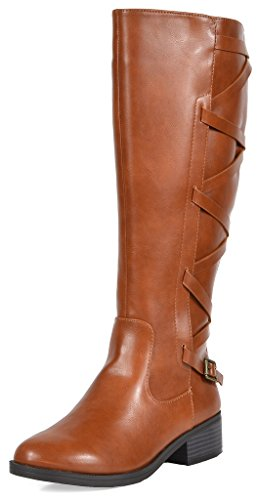 TOETOS Women's Ankor Tan Knee High Riding Boots Wide Calf Size 8.5 M US