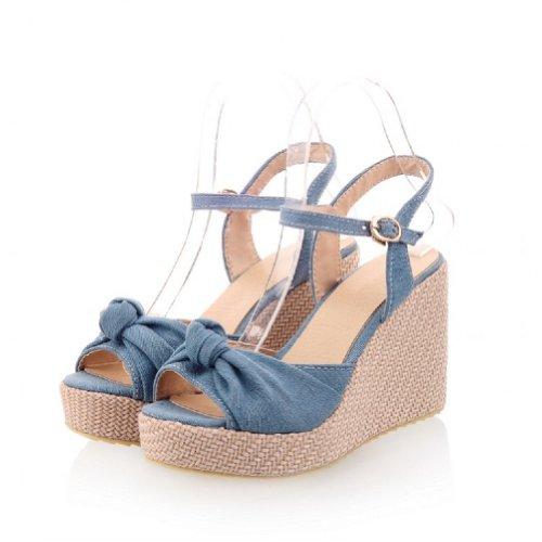 Carol Schoenen Vrouwen Platform Sleehak Peep Toe Sandalen Licht Blauw