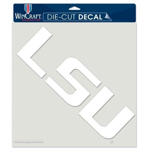LSU Tigers Louisiana NCAA Vinyl Die Cut Window Decal Auto Car Logo White Film 8x8 College Licensed Team Logo Die Cut Logo Window Film