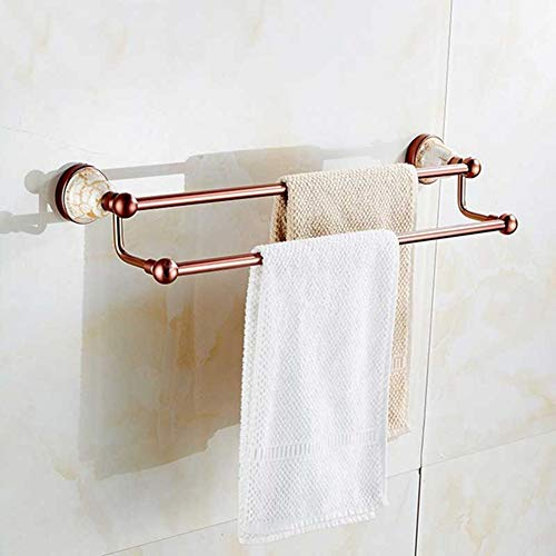 LIJUCAI Towel Rack Towel Rack Space Aluminum Double Pole Antique Rose Gold Bathroom Shelf wei yu Hang The Towel Hanger Towel Ring Towel Rail