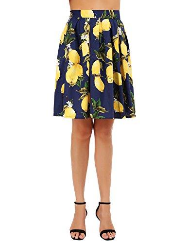 FISOUL Femme Rtro Jupe au Genou Imprime Midi A-Line Plis Style Vintage Patineuse Floral Modle12