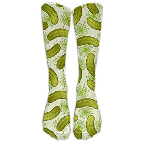 Women's Athletic Knee Socks New Dill Pickles Men's Classics Cool Tube Stockings for Running,Medical,Edema,Diabetic,Varicose - Yarn Dill