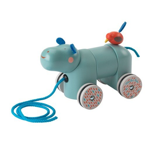 Moulin Roty Les Papoum collection Wooden Pull-Along Hippo Toy