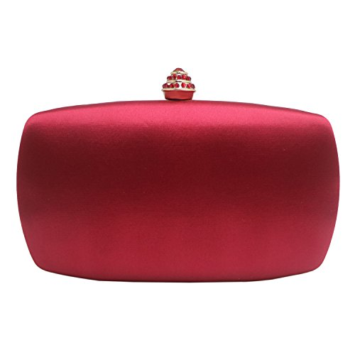 DMIX Womens Satin Silk Hard Case Box Clutch Evening Bags Red (Dmix Case)