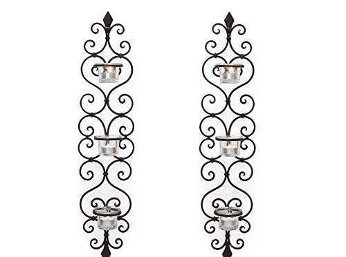 (Adeco HD0037 Decorative Iron Vertical Candle Tea Light Pillar Holder Wall Sconce, Antique Vintage Style, Classy Home Decor Accents Black with Antique Finish)