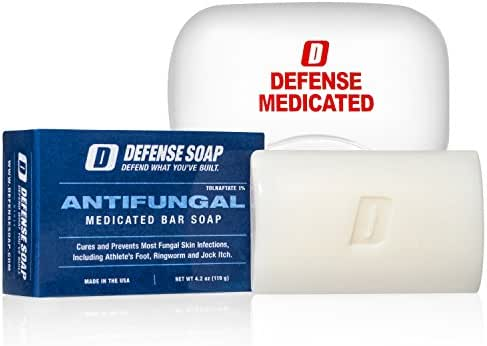 Defense Antifungal Medicated Bar Soap   FDA Approved Treatment for Athlete's Foot Fungus and Intensive Treatment for Fungal Infections of The Skin (One Bar with Snap-Tight Case)