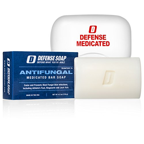 Defense Antifungal Medicated Bar Soap | FDA Approved Treatment for Athlete's Foot Fungus and Intensive Treatment for Fungal Infections of The Skin (One Bar with Snap-Tight Case) (Best Over The Counter Athletes Foot Cure)