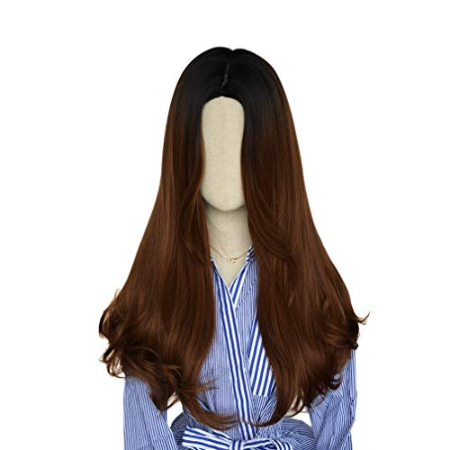 SEIKEA Part in Middle Synthetic Wig for Women Black Root Long Straight Hair 24 Inch - Honey Brown