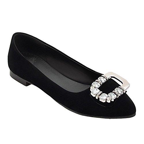 Carolbar Women's Charm Chic Rhinestones Flat Pointed Toe Court Shoes Black o0o6tVD