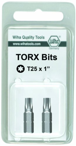 - Wiha 71551 25mm T6 Torx Insert Bit, 2-Pack