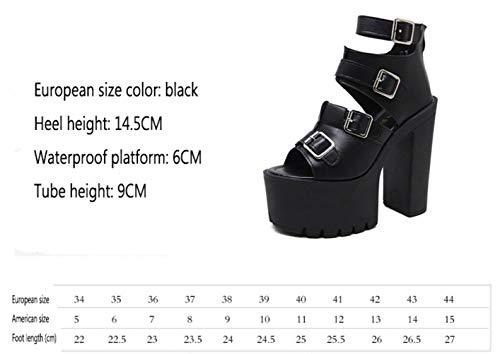 er Primavera Verano Grueso Altos Plataforma Moda Sandalias Tacones 39 Yt Negro Zapatos Romanos Talón 5d1nERq5w