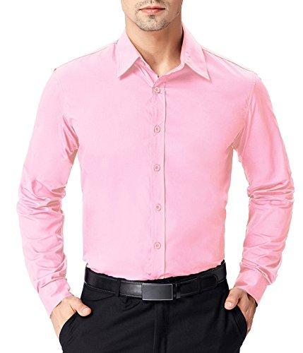 - Paul Jones Men's Solid Dress Shirt Long Sleeve Button Casual Shirt Pink