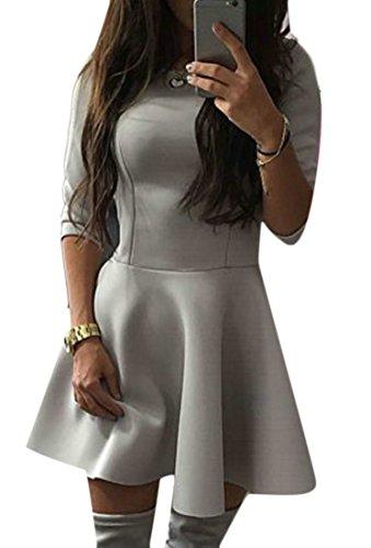 Dress Solid Pleated Women's 4 Splice A Line Mini Sleeve Grey 3 Color Cromoncent OpfxqPAwO