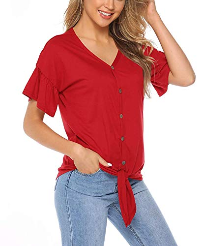 Florboom Tie Knot Front Tops for Women Ruffle Short Sleeve T Shirts (Red,L)