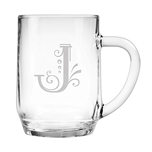 (Susquehanna Glass Monogrammed Oversized Coffee/Beverage Mugs with Sand Etched Whimsical Font Letter, Set of 2, J, 20)