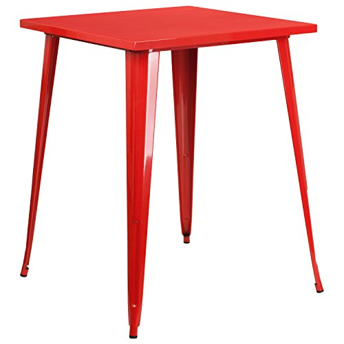 Flash Furniture 31.5'' Square Red Metal Indoor-Outdoor Bar Height Table ()
