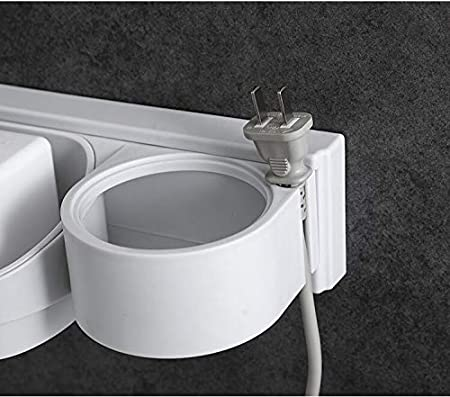 White BlossomingLove Bathroom Hair Dryer Holder Wall Mount with Cup Shelf No Drilling Easy Install with Magic Sticker Hanging Tool Organizer Multi-Functional ABS Caddy Storage Draining Rack