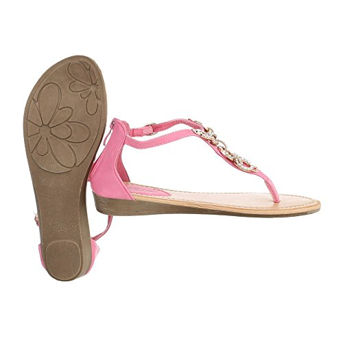 Ital-Design Zehentrenner Damenschuhe Peep-Toe Zehentrenner Reißverschluss Sandalen/Sandaletten Rosa N1160-3
