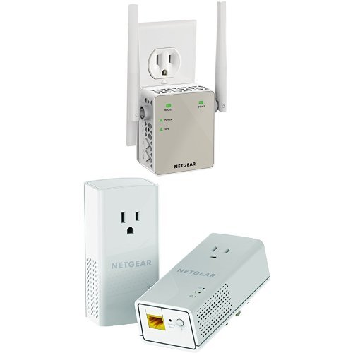 Netgear AC1200 WiFi Range Extender - Essentials Edition (EX6120-100NAS) & Netgear Powerline 1200 + Extra Outlet (PLP1200-100PAS) Bundle by NETGEAR