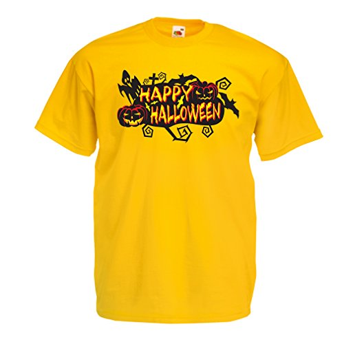 T Shirts for Men Owls, Bats, Ghosts, Pumpkins - Halloween Outfit Full of Spookiness (XX-Large Yellow Multi Color)