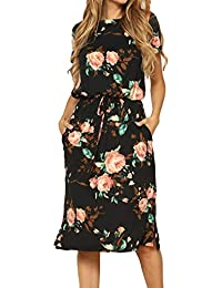 Women's Floral Short Sleeve Casual Pockets Midi Dress
