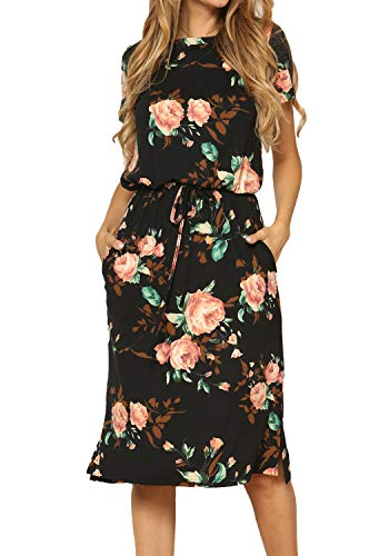 Women's Floral Short Sleeve Casual Loose Pockets Midi