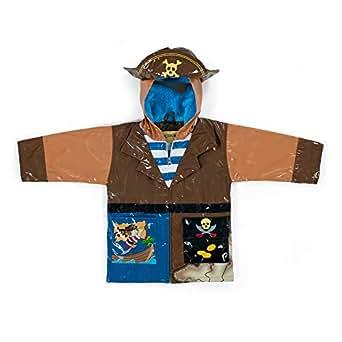 Kidorable Boys' Little Pirate All Weather Waterproof Coat, Brown, 2T