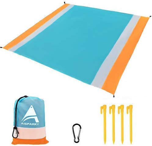 """AISPARKY Beach Blanket, Beach Mat Outdoor Picnic Blanket Large Sand Free Compact for 4-7 Persons Water Proof and Drying Beach Mat Nylon Pocket Picnic for Outdoor Travel (78"""" X 81"""")"""