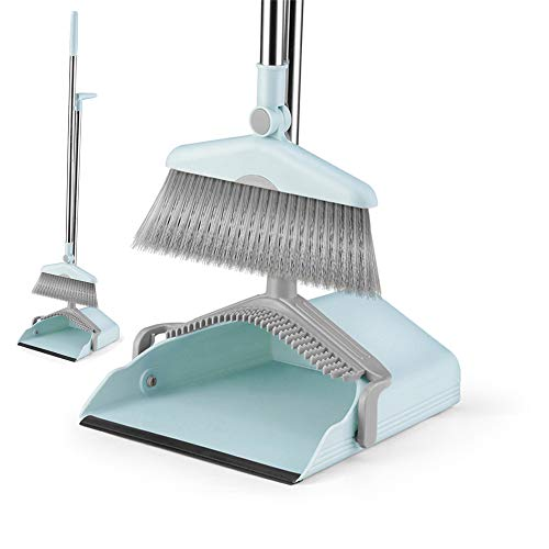 Dust Pan Sweep Set and Broom/Dustpan Cleans Broom Combo with Long Handle for Home Kitchen Room Office Lobby Floor Use Upright Stand up Dustpan Broom -