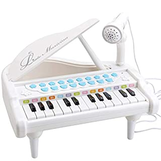 Amy&Benton Toy Piano for Baby & Toddler Piano Keyboard Toy for Girls Kids Birthday Gift Toys-- Multi-Functional, with Microphone, Portable, Mini, 24 Keys, White