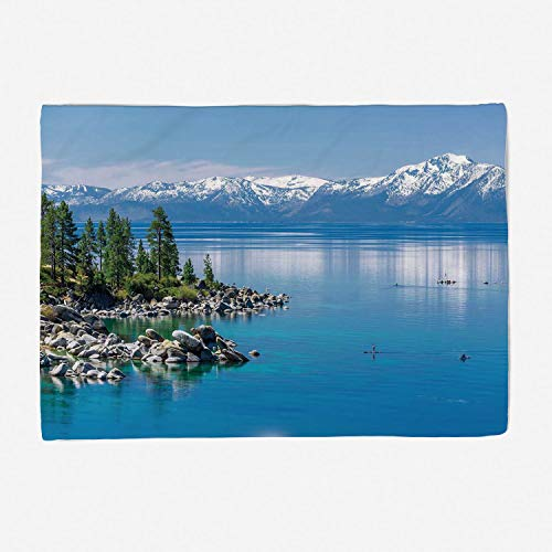 Throw Blanket Set/Perfect for Couch Sofa or Bed/49x39 inches/Landscape,Blue Waters of Lake Tahoe Snowy Mountains Pine Trees Rocks Relax Shore,Light Blue Green Grey ()