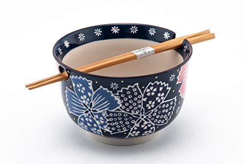 Hinomaru Collection Multi Purpose Ramen Udon Soba Pho Noodle Donburi Rice Tayo Bowl with Chopsticks Gift Set 6.25 Inch Diameter (Dark Blue Floral)
