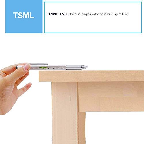 Metal Multi tool Pen 6-in-1 Stylus Pen Blue ink - With Screwdriver, Phillips Flathead Bit, Ballpoint Pen, Stylus pen, Bubble Level and Ruler - By TSML (5 packs) by TSML (Image #6)