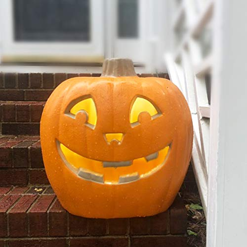 StarQualityBargain Jack O Lantern - Halloween Pumpkin Lantern with Pre-lit LED Bulbs - Gaint Indoor/Outdoor Light Up Pumpkin for Halloween Decoration in Garden, Patio, Front Door D¨¦cor - Smile Face]()