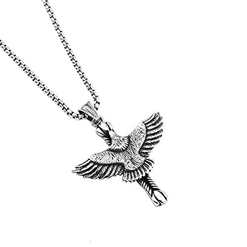 MCSAYS Eagle Cross Unisex Pendant Necklace Gifts Novelty Jewelry Round Box Chain Titanium (Eagle Pendant)