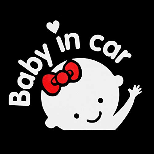 Aaron White Baby in Car Baby Safety Sign Car Sticker, Car Decal Sticker (1-Pack Girl)