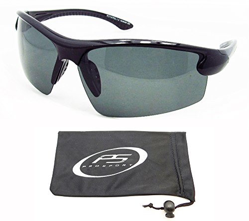 TAC Polarized Sunglasses with half frames for fishing, boating, cycling, motorcycle riding, running and driving. Free Microfiber Cleaning Case.