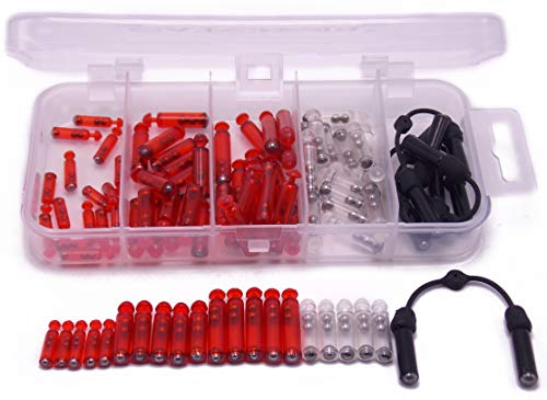 Rattle Jig - CATCHSIF Fishing Jig Rattles Tackle Box 86pcs Lures Parts ADD Sound Red Transparent
