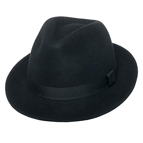 (Men's Wool Fedora Hat | York Black Crushable Snap Brim Wool Felt by Silver Canyon)
