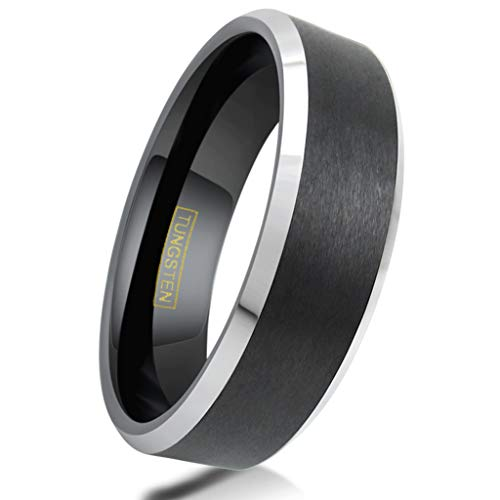 King's Cross Personalized Engraved 6/8mm Brushed Finish Black Tungsten Carbide Wedding Band w/Silver Beveled Edges. (Tungsten (6mm), 11)