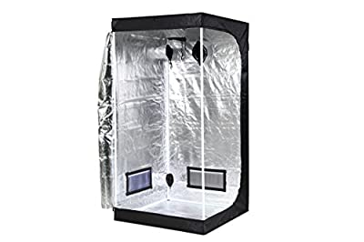 "iPower 32""x32""x63"" Hydroponic Mylar Grow Tent with Observation Window, Tool Bag and Floor Tray for Grow Light and Indoor Plant Growing"