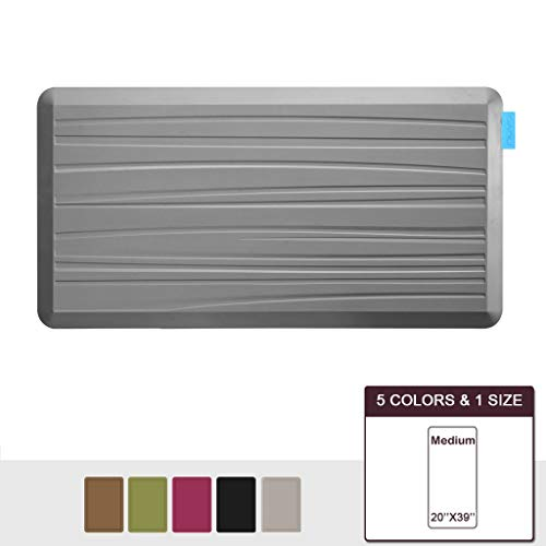 NUVA Anti Fatigue Standing Floor Mat 39 x 20 in, NO PVC!!! 100% PU Comfort Ergonomic Material, 4 Non-slip PU Elastomer Strips on Bottom, 5 Safety Test by SGSS (Putty Gray, Beach Pattern) ()